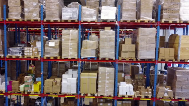 warehouse isles and racks - vacancy in logistics centre - packaging stock videos & royalty-free footage