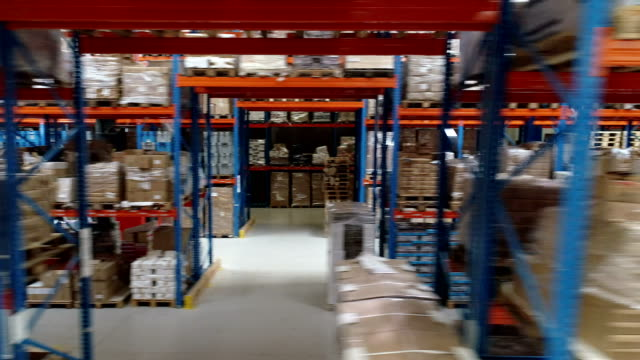 warehouse logistic center. aerial view - storage compartment stock videos and b-roll footage