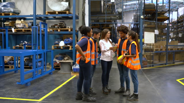 warehouse manager meeting with workers in factory - explaining stock videos & royalty-free footage