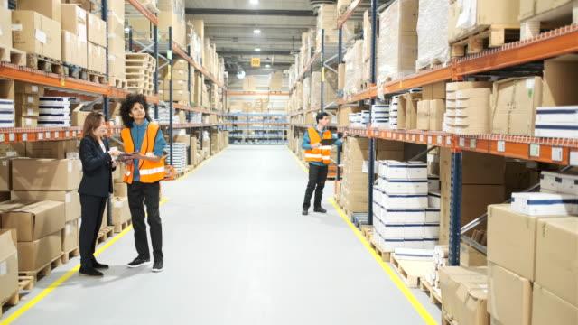 vídeos de stock, filmes e b-roll de trabalhadores manuais do armazém que supervisionam a mercadoria. - catalogação