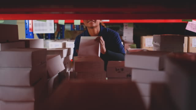 warehouse woman worker look for product on shelf and pick up - mitarbeiterengagement stock-videos und b-roll-filmmaterial