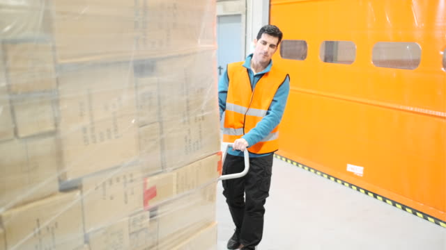 warehouse worker pulling a fork lift. - mercanzia video stock e b–roll