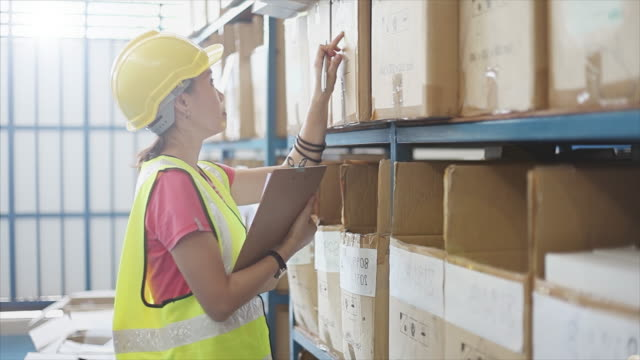 4K, Warehouse workers counting stock