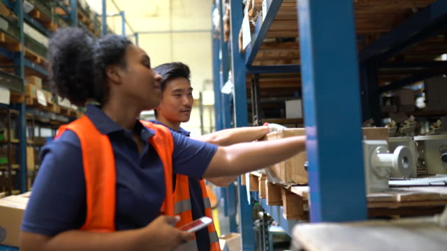 warehouse workers working in factory store - compartment stock videos & royalty-free footage