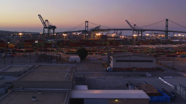 warehouses and container yard in the port of la - drone shot - port of los angeles stock videos & royalty-free footage