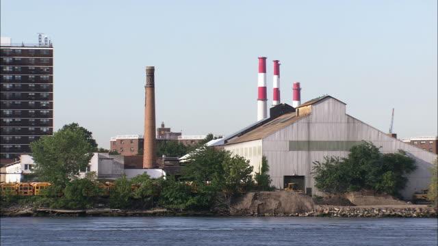 Warehouses and smokestacks on the Harlem River