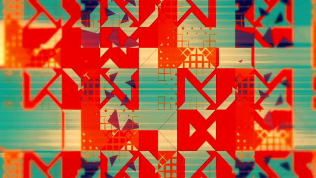 warm pattern of triangles, squares, lines, loopable background in orange and blue - illustration stock videos & royalty-free footage