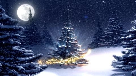 warm winter landscape with golden decorated christmas tree. - serier bildbanksvideor och videomaterial från bakom kulisserna