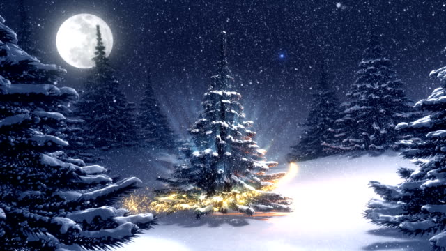 warm winter landscape with golden decorated christmas tree. - christmas tree stock videos & royalty-free footage