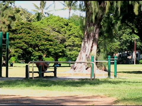 riscaldamento al parco. - allenamento a corpo libero video stock e b–roll