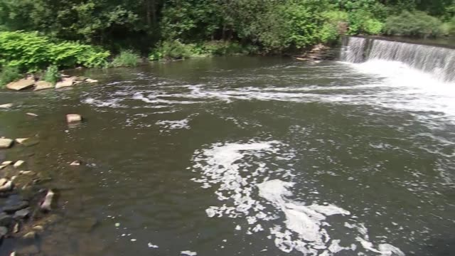 rnli warn against swimming in the thames during hot weather england greater manchester bury river irwell ext various shot of waterfall and river... - damon green stock videos and b-roll footage