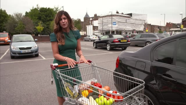 eu warn to prepare for the impact of a no deal brexit england ext reporter to camera food disappearing from shopping trolley ian wright set up shots... - impact stock videos and b-roll footage
