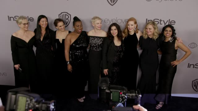 chyron warner bros pictures and instyle host 19th annual postgolden globes party at the beverly hilton hotel on january 7 2018 in beverly hills... - golden globe awards stock videos & royalty-free footage