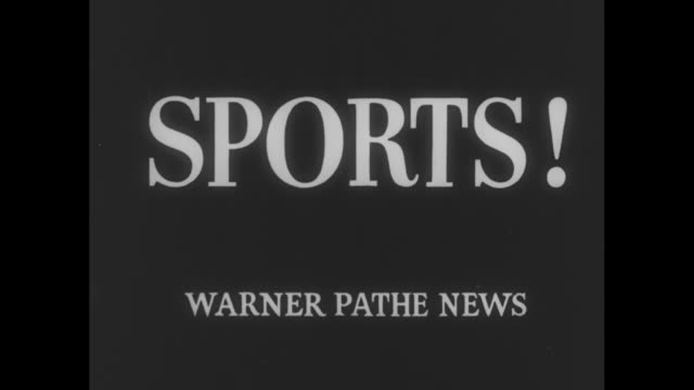 warner pathe news intro / title cards sports sports thrills of 1954 / vs bobsledders shoot through chutes / vs skiers make jumps / cameraman shoots... - bobsleighing stock videos & royalty-free footage