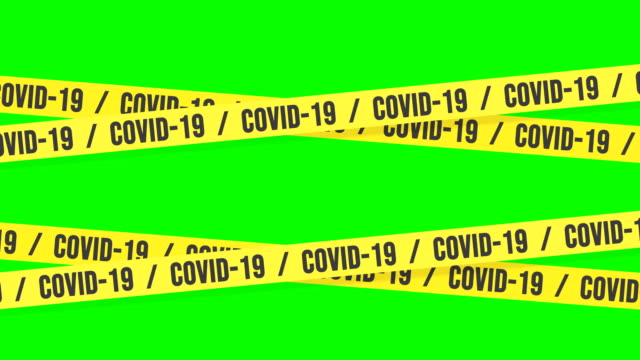 warning banner on risk of covid-19 contagion, 4k loopable animation chroma key. - cordon boundary stock videos & royalty-free footage