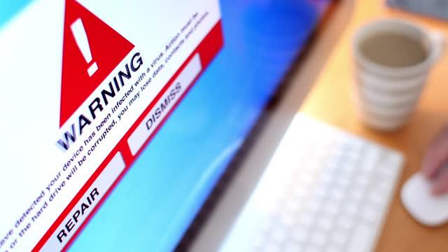 warning computer detected a virus. lockdown. - medium shot stock videos & royalty-free footage
