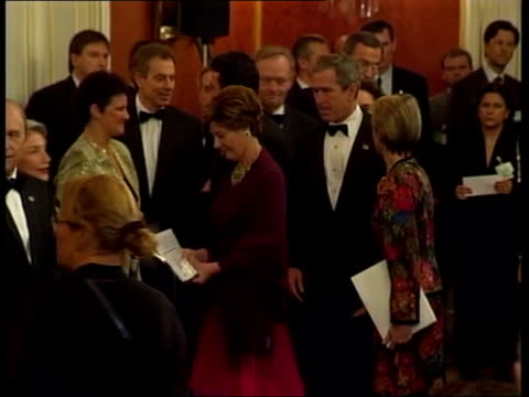 Warning from military chief/talks held POOL CZECH REPUBLIC Prague US President George W Bush wife Laura Bush along past Prime Minister Tony Blair MP...