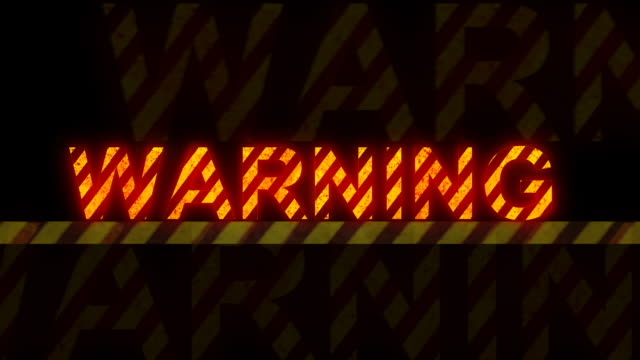 'warning' glowing text (loopable) - danger stock videos & royalty-free footage