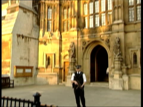 Warning of possible anthrax attack on Houses of Parliament ITN London Houses of Parliament LA Houses of Parliament TILT DOWN to armed policeman on...
