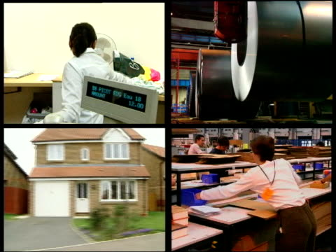 imf warning on house prices aitv sequence four screens representing the british economy one shows people shopping two show factories and one shows... - itv late news stock-videos und b-roll-filmmaterial