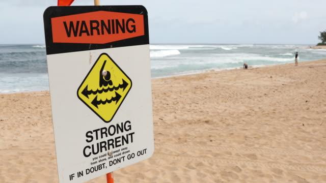 Warnzeichen auf Sunset Beach North Shore Oahu Hawaii