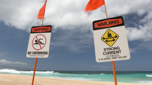 Warning signs on Sunset Beach North Shore Oahu Hawaii