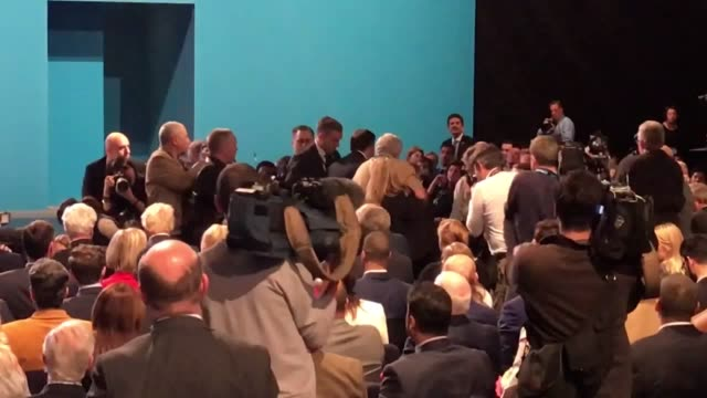 strong language comedian simon brodkin also known as lee nelson confronts prime minister theresa may during her keynote speech at the conservative... - simon brodkin comedian stock videos and b-roll footage