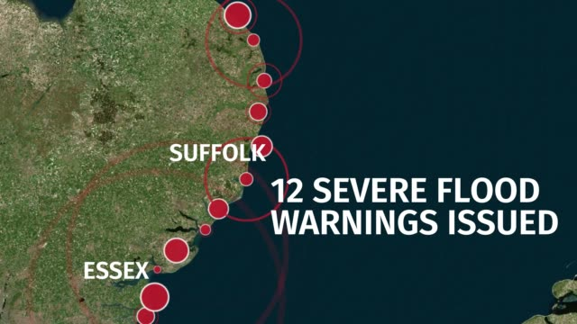 stockvideo's en b-roll-footage met warnings of lifethreatening floods are in place along the east coast as britain is battered by heavy rain high winds and snow the environment agency... - essex oost engeland