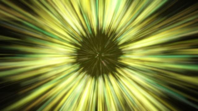 stockvideo's en b-roll-footage met de snelheidssprong van de kromme in ruimte die in de wormgat gele achtergrond vliegt - tekstveld