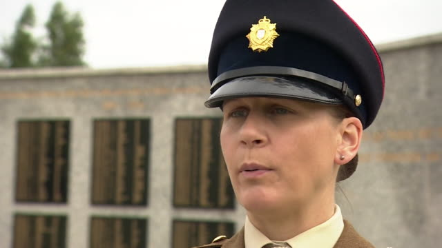 Warrant Officer Heidi Ramsay talks about why she feels more women should join the British armed forces during a commemoration of 100 years since...