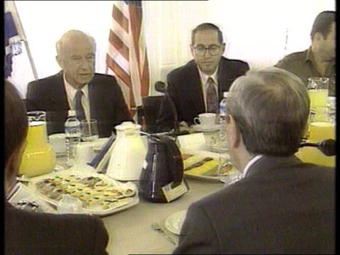 stockvideo's en b-roll-footage met warren christopher visits jerusalem israel jerusalem ms warren christopher along with yitzhak rabin and officials cms christopher and rabin meeting... - yitzhak rabin