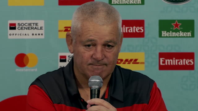 """warren gatland saying if wales can make the rugby world cup final """"it would be one hell of an achievement"""" - wales stock videos & royalty-free footage"""