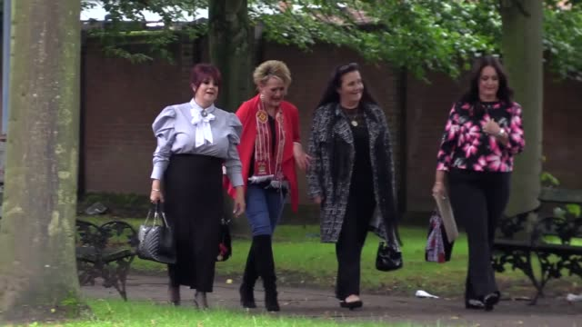 Warrington Combined Court where the Hillsborough disaster court case is taking place Arrivals of Hillsborough victims' families Donna Miller and...