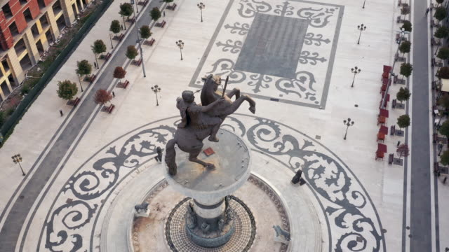 warrior on a horse monument in skopje city center - eastern european culture stock videos & royalty-free footage