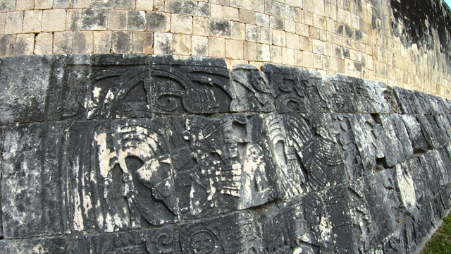 warrior stone carvings great ball court chichen itza - ancient stock videos & royalty-free footage