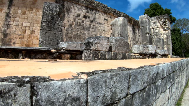 warrior stone carvings great ball court yucatan mexico - ancient stock videos & royalty-free footage