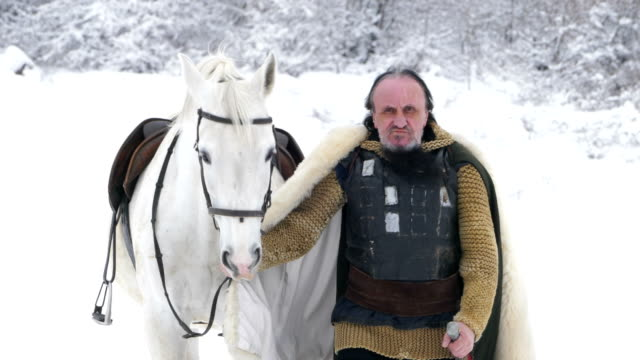 warrior with horse. portrait of medieval male warrior. medieval reenactment. - males stock videos & royalty-free footage