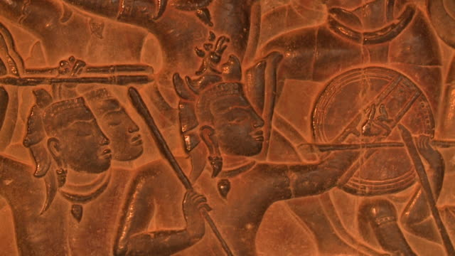 warriors painted on the façade of a building - antiquities stock videos & royalty-free footage
