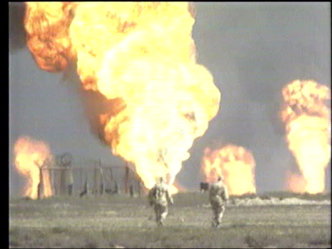War's impact on oil supply LIB GVs Fires shooting out of oil wells