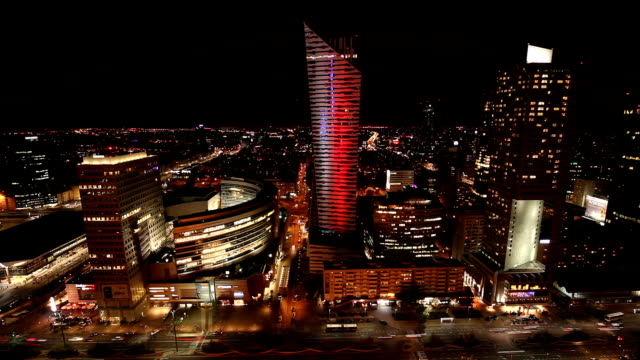 warsaw business district in the night, time lapse - warsaw stock videos & royalty-free footage