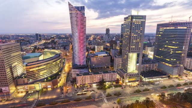 warsaw business district, time lapse - warsaw stock videos and b-roll footage