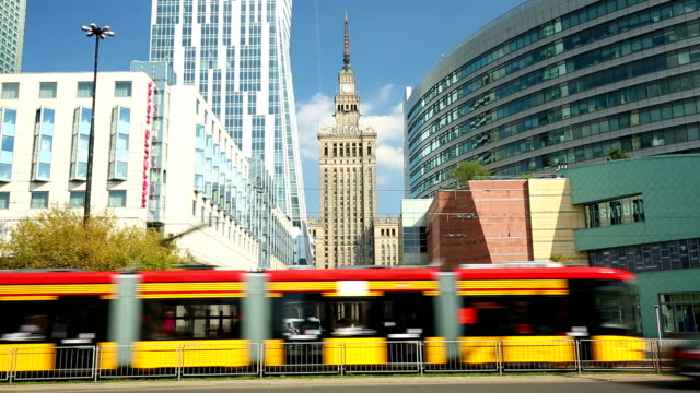 warsaw, business district with tram - warsaw stock videos and b-roll footage