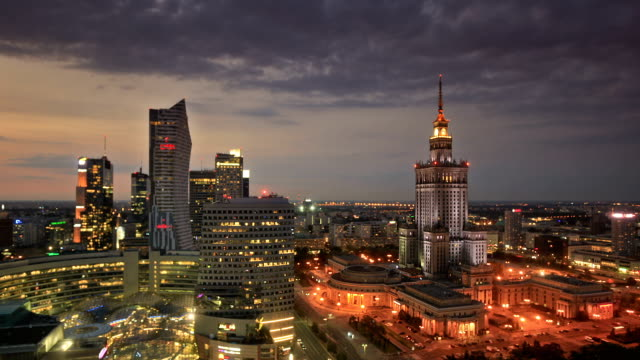 warsaw by night - warsaw stock videos & royalty-free footage