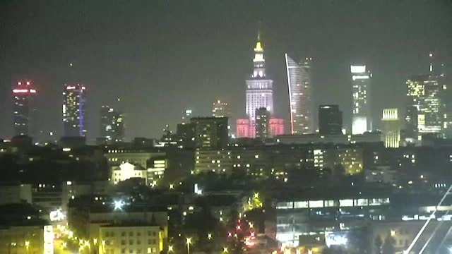 warsaw centre by night - cable stayed bridge stock videos & royalty-free footage