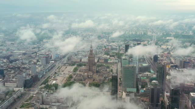 warsaw city under the clouds - warsaw stock videos & royalty-free footage