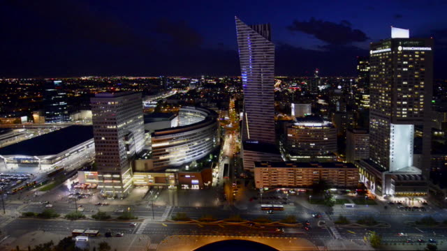 warsaw downtown at night time. - poland stock videos and b-roll footage