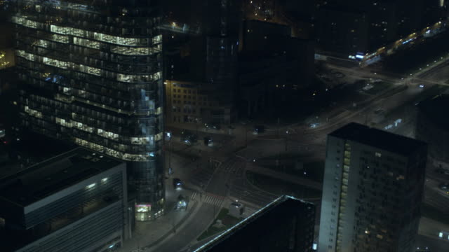 warsaw downtown at night - poland stock videos and b-roll footage