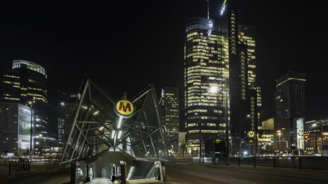 warsaw downtown at night - warsaw stock videos and b-roll footage