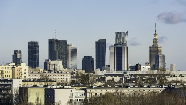 Warsaw downtown during winter time