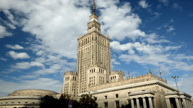 warsaw palace of culture and science, time lapse - warsaw stock videos & royalty-free footage